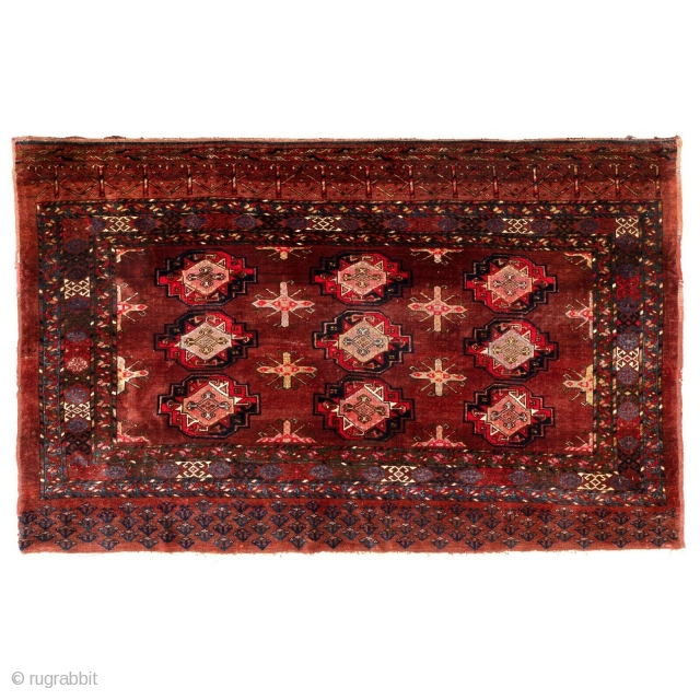 Large antique Turkmen chuval from the late 19th century.  Saryk guls, chemche secondary guls, floral bottom elem, large amounts of silk specially in the center of the main guls and in  ...