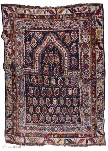 Antique Marasali  Shirvan East Caucasian prayer rug, last quarter of the 19th century, all dyes natural, with some issues but still worthy...