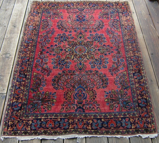 Antique Painted Sarouk Mohajeran rug 5'x3'..HIGH uniform pile all over, no repairs. Tight, fine weave