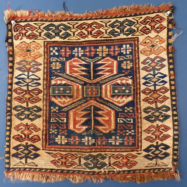 "Shahsavan Soumac Bag Face, wool & cotton, 17 1/2"" x 17"". 