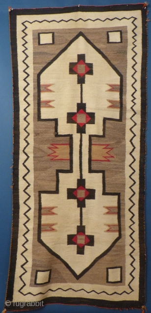 "American Navajo Weaving, c. 1920, 88"" X 41"", Very good condition with 2 small dings.