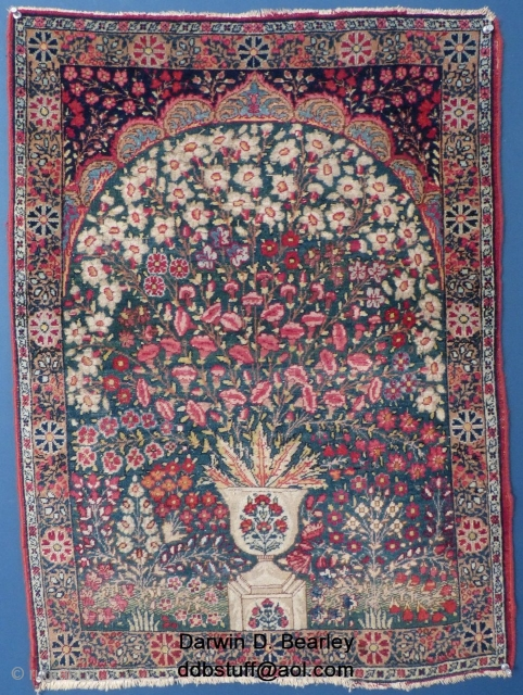 "Small Kerman Millefiori (?) Prayer Rug, 32"" X 23"".
