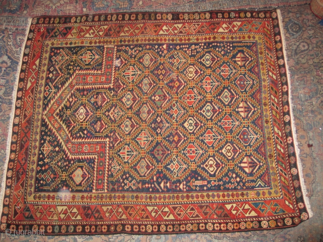 Circa 1880 Caucasian Shirvan Prayer Rug with nice dimensions 1.20 x 1.65 and great colors. Some edges (about 2% of the rug) have some old repairs.