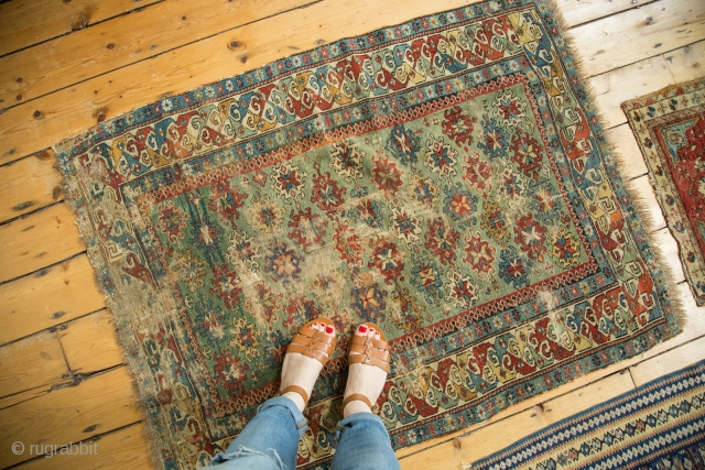 "Old Caucasian rug, 1800s. Amazing color, great quality, early for type. Used and enjoyed, see photos. Special piece, rare green color. Dated in lower right corner ""122"" / 1802. 3'2"" x 4'2"".  ..."