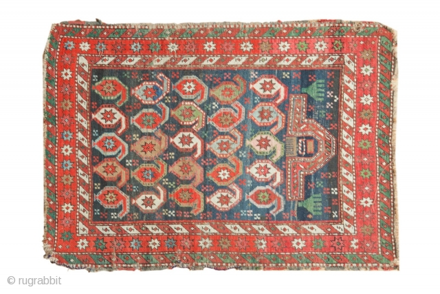 "Caucasian rug, 1800s. Prayer design with hands. Great colors, lots of  green. Used and enjoyed, see photos. 3'2"" x 4'6"". Contact for more info."