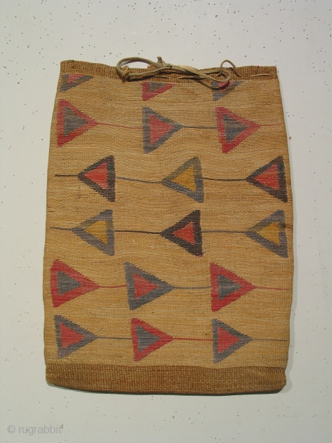 Corn husk bag, Nez Perce tribe ( Idaho, Washington, or Oregon ) with natural dyed patterning, circa 1850-1880, 13 x 17 inches