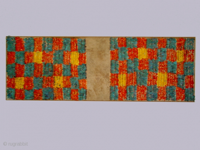 Half tunic, Inca culture, Peru, feathers applied to a cotton foundation, 14th century, 21 x 63 inches ( mounted).  Such tunics were typically made from two pieces of selvedged fabric sewn  ...