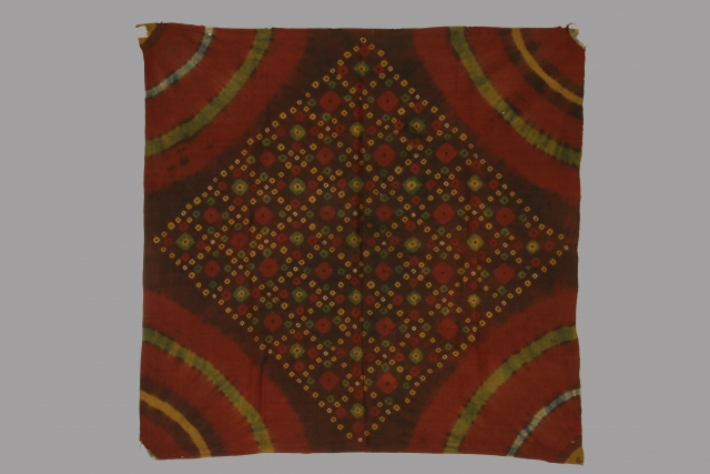 Ceremonial panel, Cambodia, resist dyed silk, 19th century, 25 x 26 inches