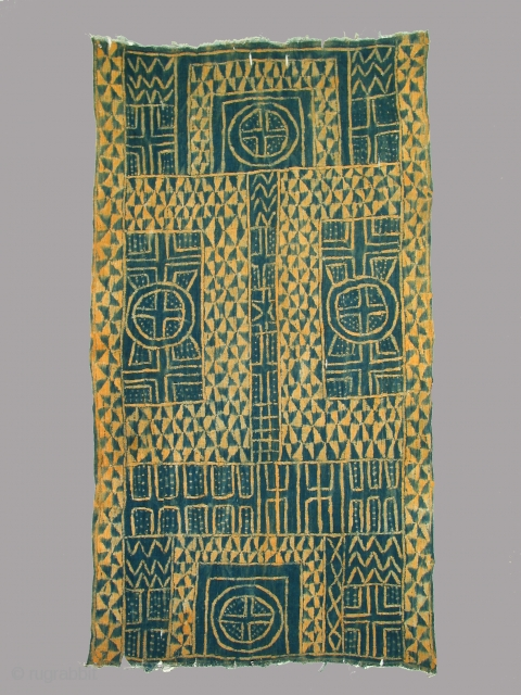 Mantle/wrapper, Cameroon, indigo resist dyed cotton, 20th century, 37 x 68 inches