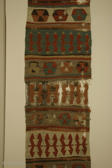 Anatolian kilim fragment, banded type, with camel hair, 27 x 80 inches 