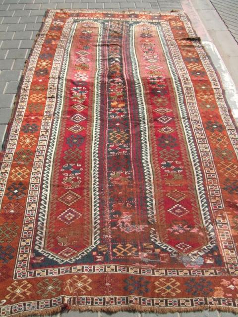 Turkish Yuruk rug,wool, Eastern Turkey, Kurdish weaving, size:265x135-cm / 104.3x53.1-inches
