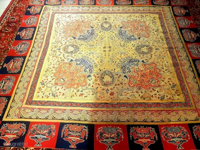 Fine antique Rasht emberoidery of Qajar period 200x200 cm