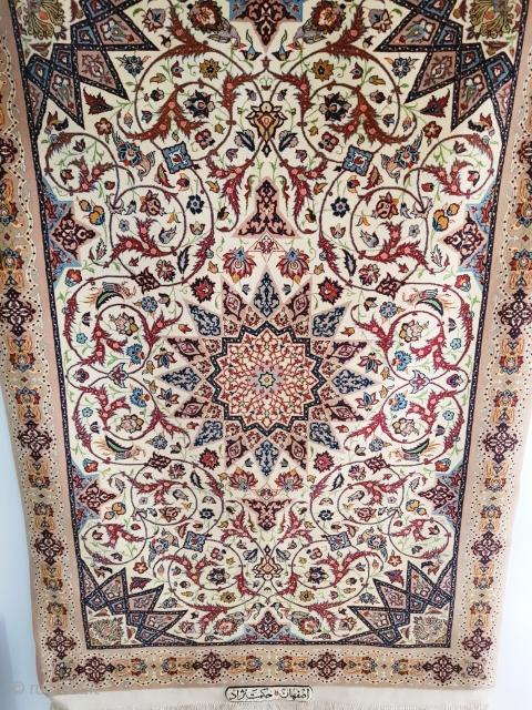 Nice, fine quality part silk Isfahan, hekmatnejad small zar o nim rug.  P.O.R