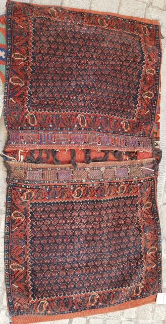 Antique full pile Afshar Khorjin, saddle bag  Circa 1920  P.O.R
