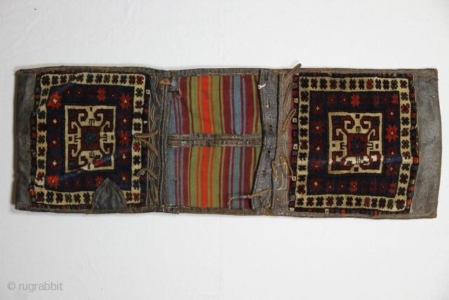 Antique saddle-bag, 57 x 109 cm. Wool and cotton-white.