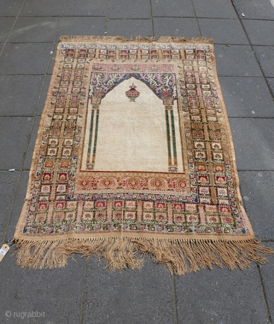 Turkish prayer rug 155x120cm, silk, beautiful colors