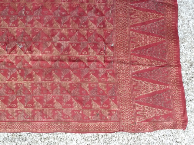 Indonesian Textile. 3.8 x 3.8 Ft. Nice old piece w. damages