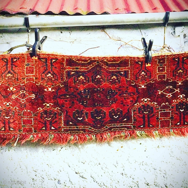 Antique Central Asian Turkmen Torba, wool, full pile. Good condition. No backing. Size: 60 inches or 1.5m long.