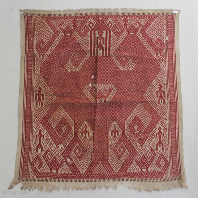 Tampan textile cloth from komering Lampung, Sumatera, Indonesia. cotton 72cm x 65cm. Conditions : Please see on the picture, Free from any repair. 19th century.