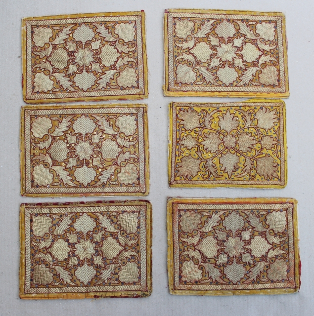 Group of six cloth for pillow decorations from Lampung/ Palembang, Sumatera Indonesia. Size 22cm x 15cm. 19th Century. good condition.