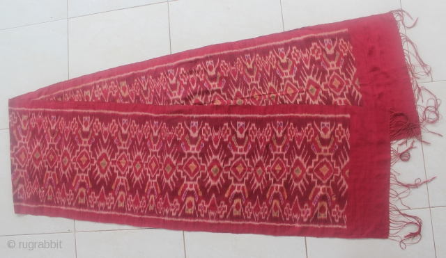 19th Century textile, ENDEK ceremonial kemben from Bali, Indonesia. Silk. Size: 281cm x 42cm. Condition: there has some holes has been repaired.