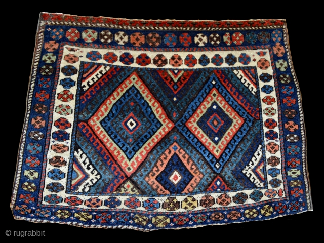 """3'6"""" x 2'6"""" Exceptional, Large northwest Persian Kurdish bag face with great graphics and color, circa 1880.  Please, visit our Quadrifoglio Gallery website:  www.quadrifogliogallery.com"""