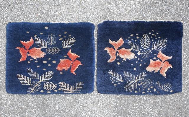 Pair of Baotou sitting rugs with gold fish design. circa 1920. 41x35cm