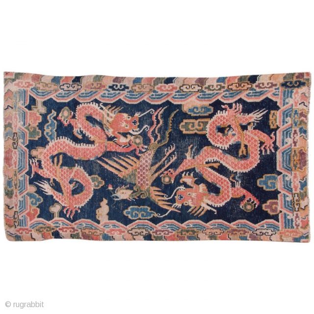 Tibetan Khaden with 2 dragons and 1 phoenix. Around 1900. ca. 153x70cm