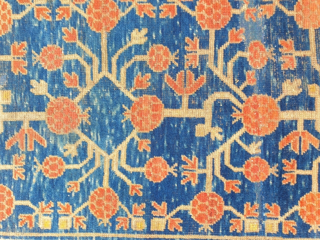 Antique pomegranate Khotan end 2nd half XIX century, Both ends restored and other old repair. Happy colors  cm 245x120 Professinally washed, for other images please ask