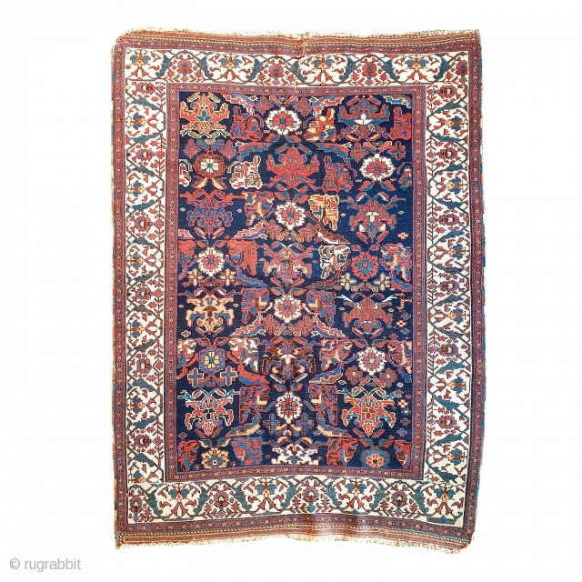 Antique Afshar cm 175x125 end XIX cent. Stunning border and very cool!