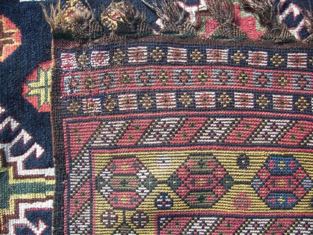 Luri-Bahktiar,village rug,( just arrived )325 x147 cm.  wool on wool,no goathair, original guard borders and top and bottom end kelim fringes, good colors, around 1900,some old restorations in the field. Needs  ...