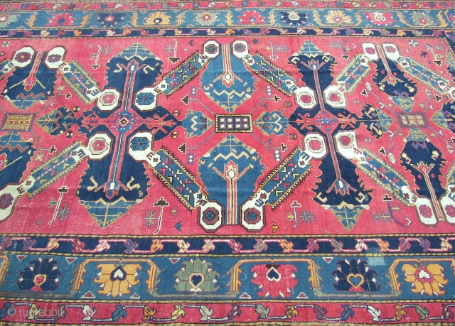 Derbent, raw and primitive, Ca. 310 cm. x 185 cm. Wool on wool.  Repaired, brown corrosion. Old.  From the Soejoez Sovjetskish Sotsialistits Respoeblik. ( C.c.c.p. ) era. Around 1930.   ...