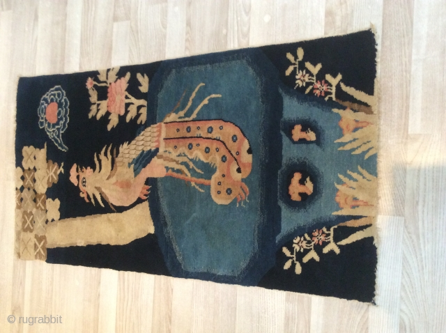 Antiq Chinese rug i good condition , cize 116x60, the price is very reasonable,  Antique Chinese Baotou Carpets , sold Thanks rugrabbit.