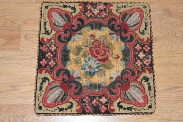 Antique beaded suzani circa 1870s,is a museum piece worth.bead + silk + katoen + wool.  It looks like red vomited.[wrapped in red silk].size 0.42cm x 0.42cm