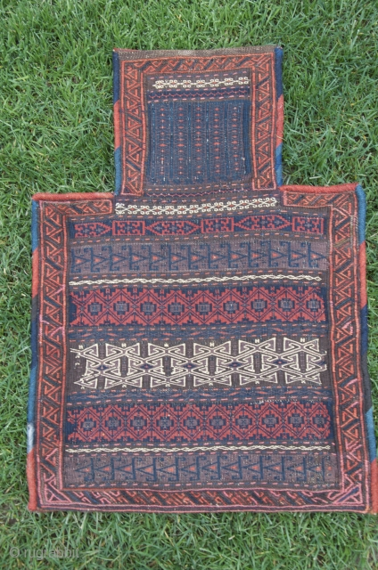 Fine SE Iranian salt bag. 24 in. X  17 in. Wool. Natural dyes. Weft substitution and weft float weave; plainwoven striped back with brocaded embellishments. A rarity in such perfect, as  ...