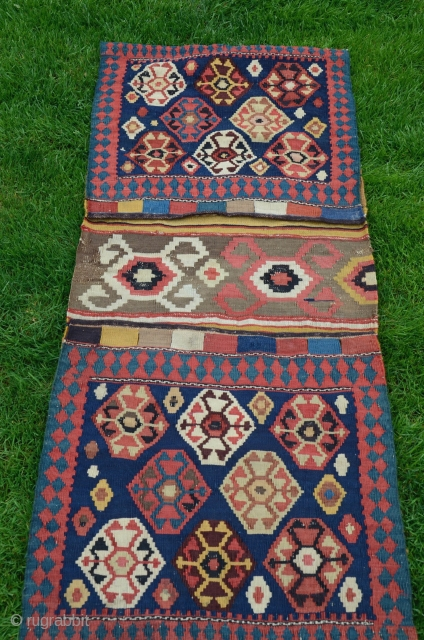 "Shahsavan kilim khorjin. 4'5"" X 1'11"". Wool. 19thC. Beautiful natural colors. Very good condition."