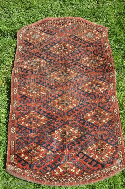 "Antique Chodor saddle rug. 25"" X 36"" Circa 1890. Wool  warps and pile, fine cotton wefts. . Asy1.  Good condition with even low pile. No holes, repairs or other problems.  ..."