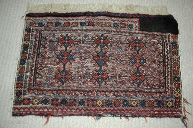 "Luri-Bakhtiari bagface (?tasheh face) early 20th C, soumac and pile,natural dyes 31""X20"", excellent condition."