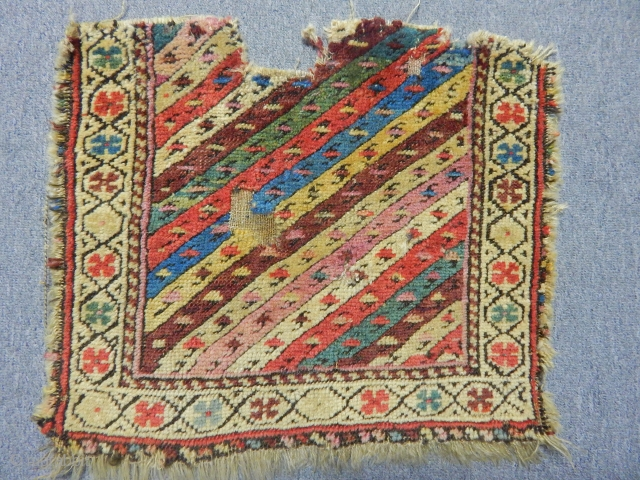 Early,ca.1850 Shahsevan Khorjin fragment. Exceptional colours!