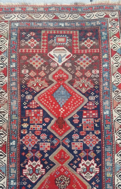Unusual and attractive south Caucasian prayer rug, circa 1900,no repairs, oxidation to the brown,3-4 × 5-7.