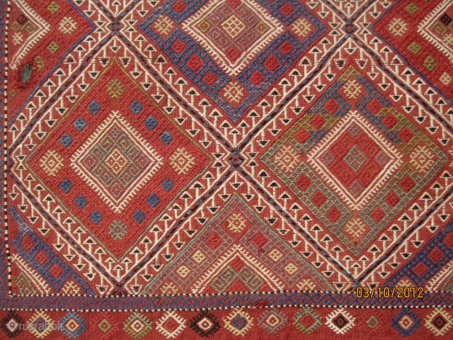 """Magnificent Caucasian bag, circa 1880, with spectacular colors, great visual effect, in superb condition, measuring 2-6"""" x 5'-7"""" or 76 cm x 170 cm.  A great example of its kind."""