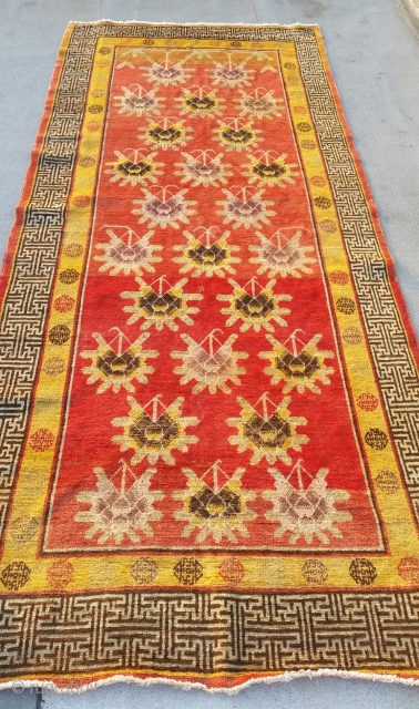 Antique Khotan, 4-11 × 11-1,in great condition, super decorative.