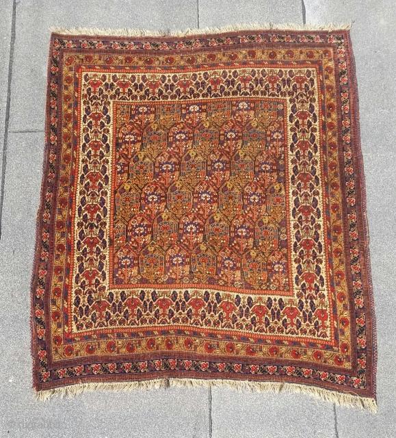 "Antique Neiriz rug,circa 1880,4'-9"" × 5'-6"", good condition, fantastic colors,wonderful border."