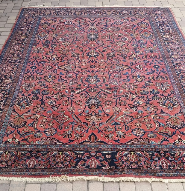 Highly decorative antique Lilihan carpet, circa 1920, even low pile, Mahal allover design, a few small areas of slight wear, perfect decorative antique carpet for today's designer market. This carpet is just  ...