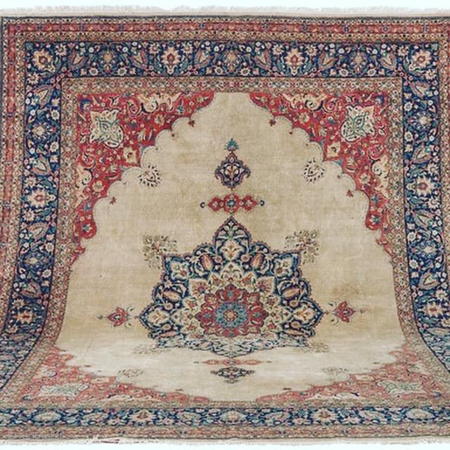 "mint condition, camel hair and wool, late 19th century. 10x15 feet tabriz. signed diagonally , inconspicuous  "" ALA BAFT "".