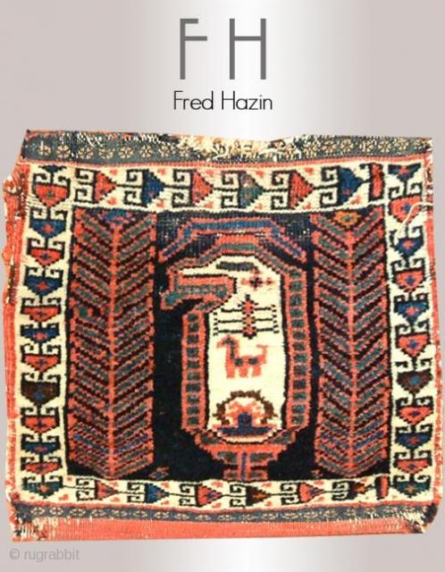 Stock #A124 | Afshar Bag | Circa: 1910 | Size: 1.3 x 1.3