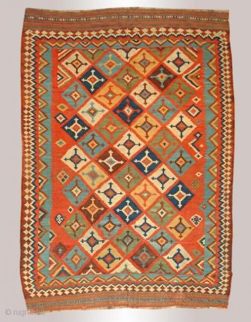 Stock #A112 | Quashqai Kilim | Circa: 1900\'s | 5.5 x 9.1