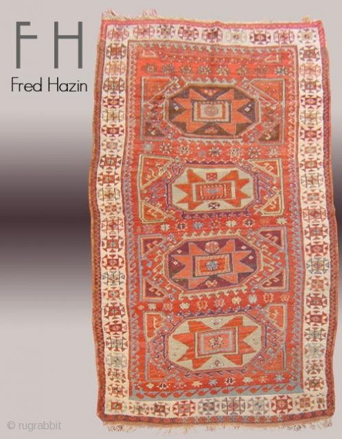 Stock #A159 | Konya | Circa :1870s | Size: 4.2 x 8.4 feet Info: This piece has good pile and it has minor old reapir look at second photo.