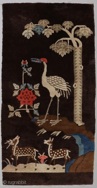 Early 1900's rare brown Chinese Baotou rug. In very good condition. Pictorial deer and crane pattern. Size: 143cm x 75cm/ 4'8.3 x 2'5.53
