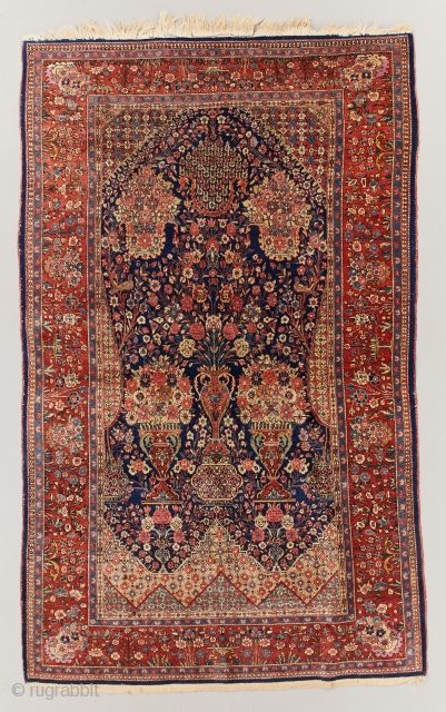 Early 1900's Kashan kork. 213cm x 130cm/83x51 inches